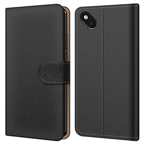 Conie BW45767 Basic Wallet Kompatibel mit Wiko Sunset 2, Booklet PU Leder Hülle Tasche mit Kartenfächer & Aufstellfunktion für Sunset 2 Case Schwarz