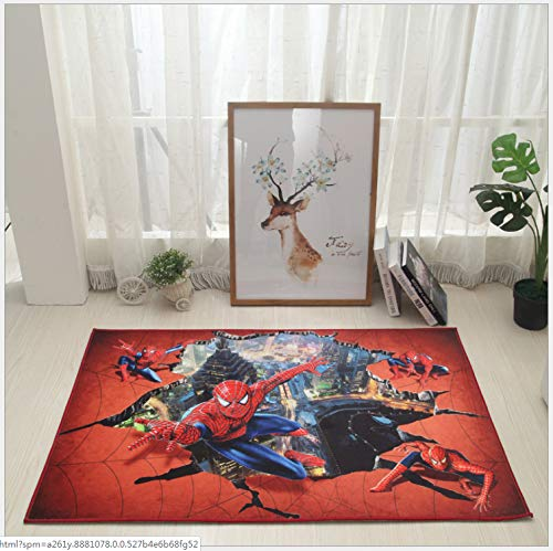 LzZ Kinder-Wohnzimmer-Teppich Cartoon Spider-Man 3D-Muster Teppich Wohnzimmer Schlafzimmer Schlafzimmer Bett Bett Couchtisch Hängen Korb Computer Stuhl Teppich 160 * 230 cm (Teppich-korb)