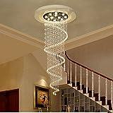 Lustre Escalier en duplex Escalier en spirale Lumières Cristal Lustre Villa Escaliers Salon Long lustres Éclairage décoratifA+ ( taille : 35*120cm )