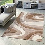 T&T Design Designer Teppich Modern Kurzflor Mallorca mit Wellen Muster in Beige Creme Braun, Größe:160x230 cm
