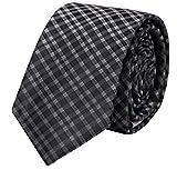 Fabio Farini klassische, schwarz-grau karierte 8 cm Krawatte, Business-Krawatte