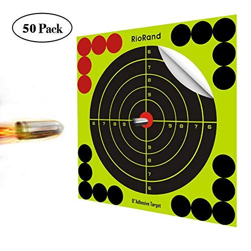 RioRand Schießscheiben Shooting Splatter Ziele 20,3 cm Selbstklebende Papier Reactive Target Aufkleber für Gun Gewehr BB Pistole Airsoft Pellet Gun Air Gewehr 50 Pack (Soft-gun-target)