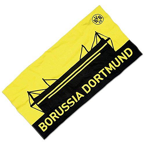 Borussia Dortmund BVB Strandtuch mit Stadion-Motiv, Baumwolle, Schwarz/Gelb, 150 x 75 x 1 cm