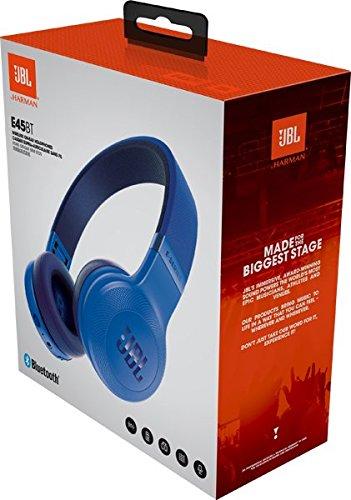 JBL E45BT On-Ear Ohraufliegender Bluetooth Kopfhörer Faltbar Inkl. Abnehmbares Verwicklungsfreies Textilkabel mit Universeller 1-Tasten-Fernbedienung mit Integriertem Mikrofon - Blau - 8