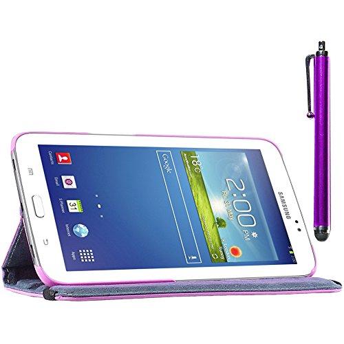 ebestStar - Compatibile Cover Samsung Galaxy Tab 3 8.0 SM-T310 Custodia Protezione Pelle PU con Supporto Rotazione 360 + Penna, Viola [Apparecchio: 209.8 x 123.8 x 7.4mm, 8.0'']