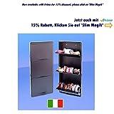 Platzsparender italienischer Schuhschrank mit 3 Schubladen, fasst bis zu 9 Paar Schuhe oder Stiefel in nur 14 cm tief – aus Stahl gefertigt, elegant schwarz, mit 15-Jahres-Garantie