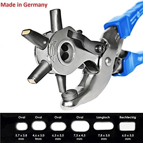 S&R Profi Revolverlochzange OVAL / MADE IN GERMANY / Lochzange Oval Pfeifenzange mit Hebel-Übersetzung und 6 auswechselbaren OVALEN Lochpfeifen: 5,7 x 3,8 mm, 4,6 x 3,0 mm, 6,3 x 3,5 mm, 7,3 x 4,3 mm, 7,8 x 3,0 mm (Langloch), 6,0 x 3,0 mm (Rechteckig)