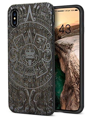 YFWOOD iPhone XS iPhone X Case cool für Mann Holz-Telefon-Koffer TPU Stoßstange Volldeckel passt Ausschnitt Premium-Holz-Carving-Stoßstange Impfstoff-beständige Abdeckung 5,8 ' '