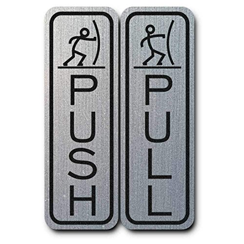 Do4U Schild Pull Push 5.1 * 1.6 Inch Vertical Silver with People