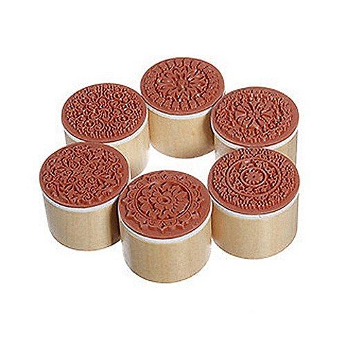 Cosanter 6 Stempel ausHolz und Gummi, rund, antikes Spitzen-Muster, handgefertigt für Scrapbooking/Hochzeit -