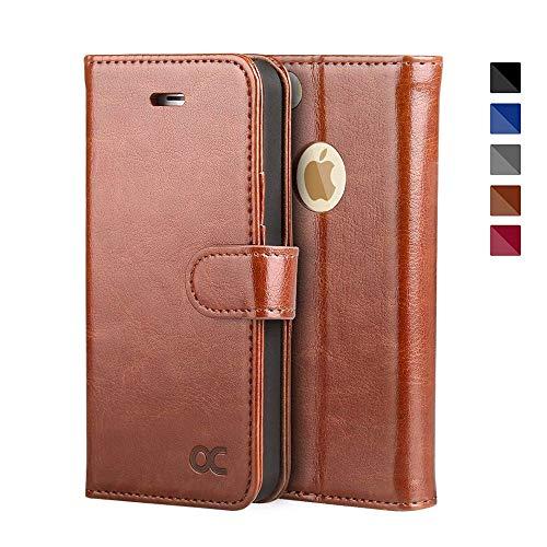 OCASE iPhone 5S Hülle, Handyhülle iPhone 5 Tasche Flip Case Cover Schutzhülle [Premium Leder] [Standfunktion] [Kartenfach] [Magnetverschluss] Leder Brieftasche für iPhone 5S SE 5 Geräte Braun