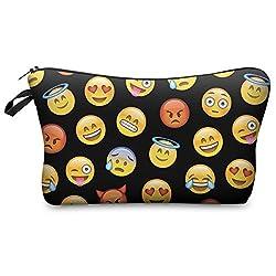 Federmäppchen Kosmetiktasche Federtasche Stiftemappe Make Up Täschchen Full Print All Over Bag Schwarz Emoji Black [009]