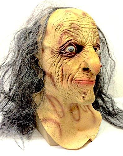 The rubber plantation tm 619219293396male strega maschera in lattice vecchio zombie di halloween costume donna lady grey hair horror di by coopers fancy dress, unisex, taglia unica