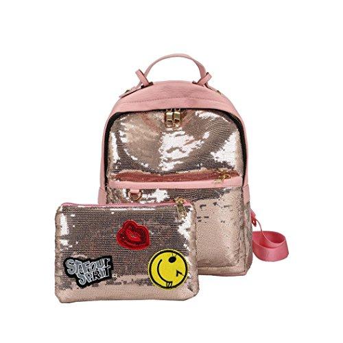Malloom® Mode Bling Pailletten Handtasche Schultertasche Schulrucksäcke für Frauen Mädchen Damenmode Pailletten Rucksack Umhängetasche + Kupplung (rosa)