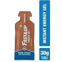 Fast&Up Energy Gel, 30g Carbs, Maltodextrin, Caffeine, Essential Electrolytes, 102kcal, Vegan & Gluten-Free - Pack of 5 Gels - Chocolate Flavour