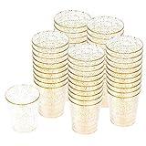 100 Vasos de Chupito Desechables de Plástico Duro con Elegante Brillo Dorado, 2oz(60ml) -...