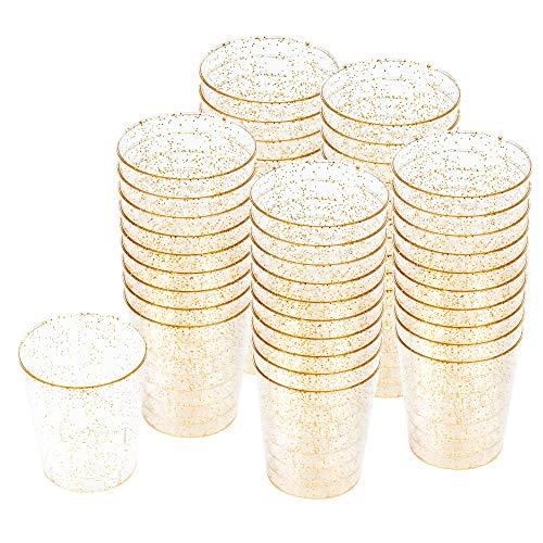 100 Hartplastik Schnapsgläser mit Elegantem Goldglitter, 2oz(60 ml) - Einweg, Wiederverwendbar, Bruchsicher Kunststoff Shotgläser - Schüsse, Wodka-Gelee, Partys, Hochzeiten, BBQs, Weihnachten.