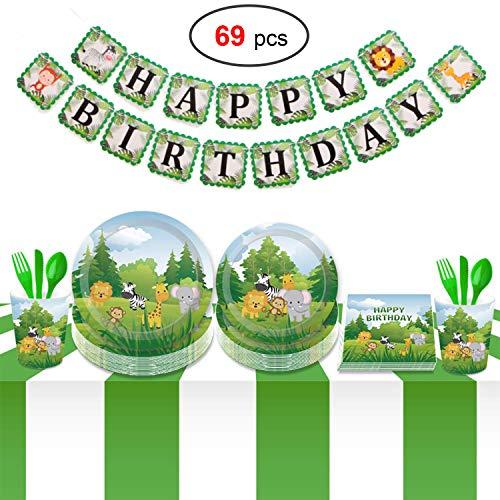 Howaf 69 Piezas Vajilla Desechable Infantil animal Fiesta de cumpleaños, incluir Pancarta,Platos, Vasos, Vajilla, Servilletas para Decoraciones Fiesta de cumpleaños Niños