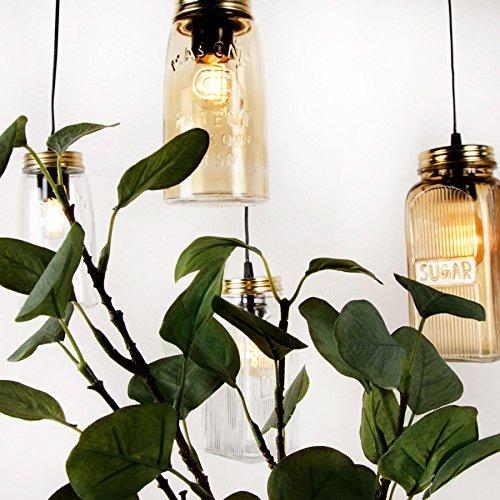 Pendelleuchte Jar Deckenleuchte Deckenlampe Vintage Ball Lampe Einmachglas Weckglas Mason Hängeleuchte (Amber (Country)) (Mason Jar Lampe)