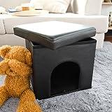 FSS24-SCH Sitzkasten, Sitzhocker, Sitztruhe, Sitzbox, Katzenhütte, Katzenhaus, Hundehaus, Hundehütte, Deckel abnehmbar, zusammenfaltbar, (Schwarz)