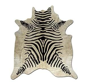 fell teppich rinderfell mit zebra druck tapis en peau de vache tappeto di pelle di mucca rustic. Black Bedroom Furniture Sets. Home Design Ideas