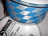 Geschenkband Geschenksband Dekorationsband Stoffband Schleifenband Band (blau/weiss Bayern-Muster) Bavaria-Muster 40mm x 20m Rautenmuster bayrisch Bayern Bayernmuster