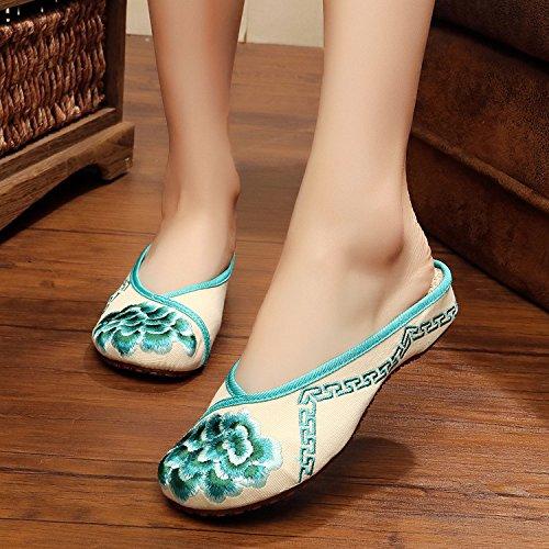 ZQ Gestickte Schuhe, Sehnensohle, ethnischer Stil, weiblicher Flip Flop, Mode, bequem, Sandalen Green