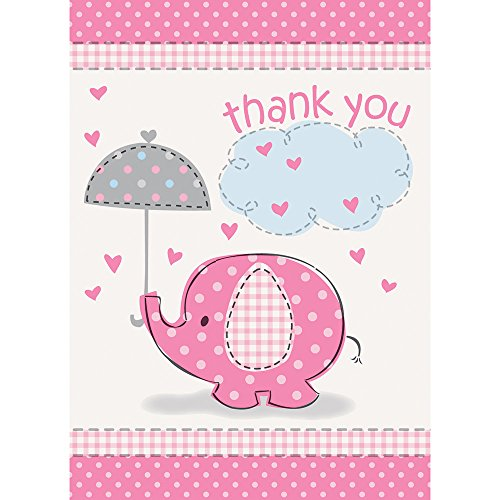 Unique Party Supplies Pink Elefant Baby Dusche Thank You Karten, 8 Stück (Elefant Für Baby-dusche)
