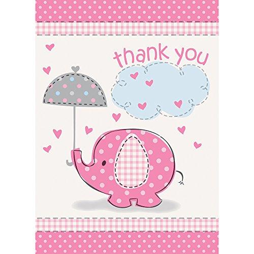 Unique Party Supplies Pink Elefant Baby Dusche Thank You Karten, 8Stück
