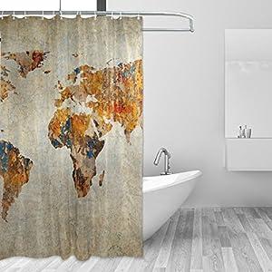 jstel Decor cortina de ducha (Grunge mapa del mundo patrón impresión 100% tela de poliéster cortina de ducha 60x 72cm para el hogar baño decorativo ducha baño cortinas