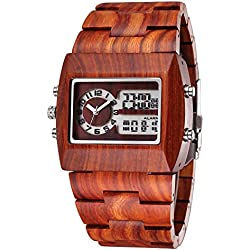 Bewell® Mens Analog-Digital Wooden Watches with Backlight (Red sandalwood) #253903 ¡­