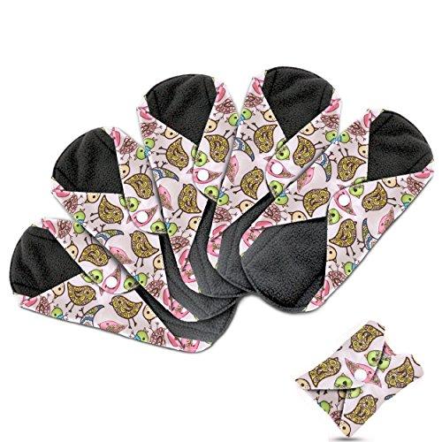 Dutchess Lot de 5 protège-slips pour fuites urinaires ou serviettes hygiéniques réutilisables Couche absorbante en charbon à base de bambou de qualité pour éviter les fuites, les odeurs et les tâches