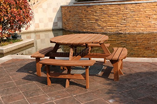 FoxHunter Garden Patio Seater Wooden Pub Bench Round Picnic Table - 8 seater round picnic table