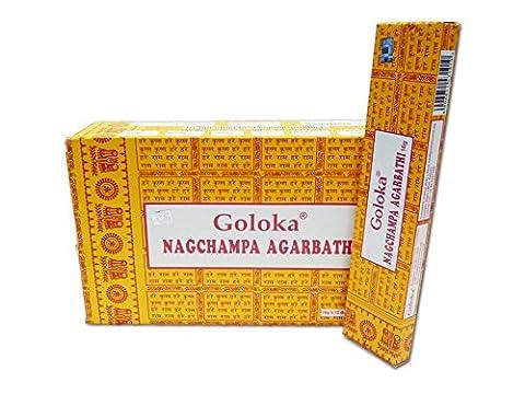 Encens Goloka Nagchampa Agarbathi - 12 boîtes Parfum Nag Champa Bâtonnets d'encens (Abbigliamento Pearl)