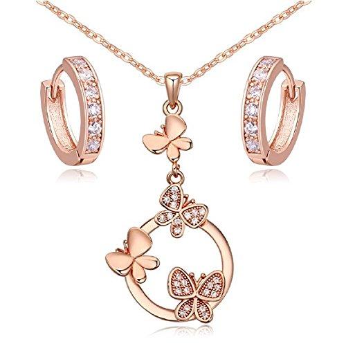 Farfalle Purare Bianco Cristalli austriaci di zirconi Collana con ciondolo 45 cm Orecchini Cerchio 18 kt placcato oro rosa