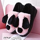SKYROPNG Slippers Casa Zapatillas,Adorable Oso Panda Rosa Cartoon Suave Transpirable Sweat-Absorbent Cálido Invierno Pavimentos Interiores Antideslizamiento Grueso Masculino Femenin