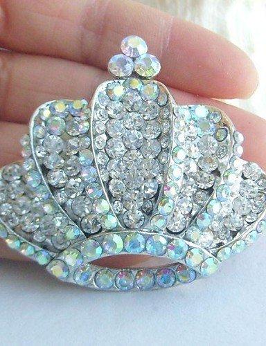 in lega di moda cristallo strass silver-tone matrimonio corona delle donne spilla da sposa , (Tone Cuore Spilla)