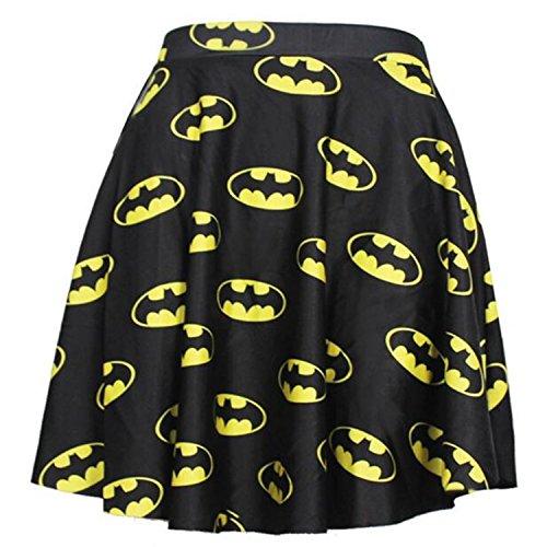 Mini gonna a pieghe donne ragazze Casual vita alta vita elasticizzato svasata (Batman)