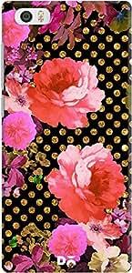 mi5 back case cover ,Pink Flowers Black Gold Polka Dots Designer mi5 hard back case cover. Slim light weight polycarbonate case