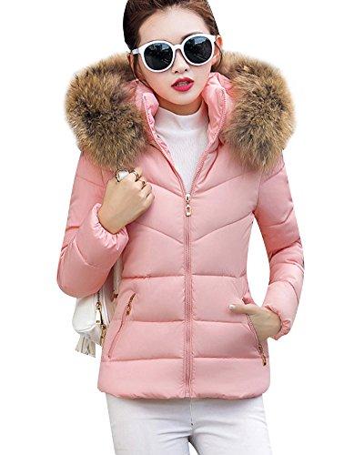 Donna-Colletto-in-pelliccia-Down-Colletto-giacca-corta-cappotto-Caldo-Cappotto-Giacca-Trapuntata-Pink-S