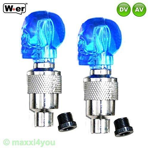 1paire de bouchons de valve lumineux tête de mort pour AV/DV Vélo Vélo Valve-01150618-1