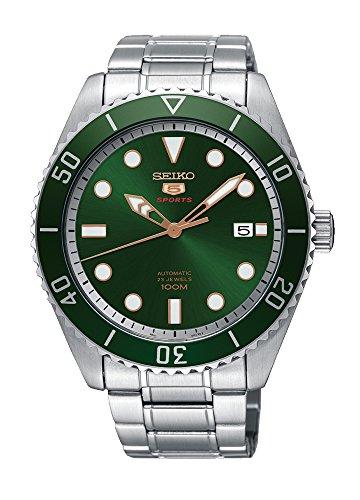 Seiko 5Sports srpb93Herren Edelstahl grün Lünette und Zifferblatt Automatik Uhr