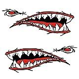 Panamami 2pcs / Set à la Mode imperméable Requin Dents Bouche PVC Autocollant Autocollants pour la pêche océan Bateau canot dériveur Accessoire