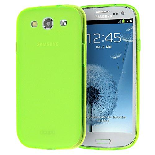 doupi PerfectFit Funda compatible con Samsung Galaxy S3 (S3 Neo, S3 LTE), tapones de polvo instalados TPU Ligero Estuche Protección, verde