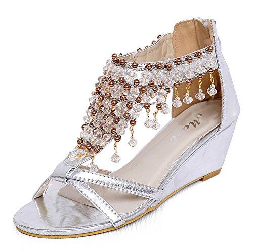 Aisun Damen Fashion Künstliche Perlen Strass Peep Toe Keilabsatz Pumps Sandalen Silber