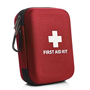 160 Piece Premium First Aid Kit Hard Case (Red) - 3 x Eye Wash, Cold Pack, Tough Cut Scissors, Metal Tweezer & Much More