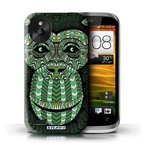 Kobalt® Imprimé Etui / Coque pour HTC Desire X / Loup-Vert conception / Série Motif Animaux Aztec Singe-Vert