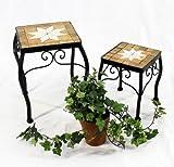 DanDiBo Sgabello fiori Merano Mosaico Set di 2 12015 Porta fiori 20 e 27 cm Sgabello angolare