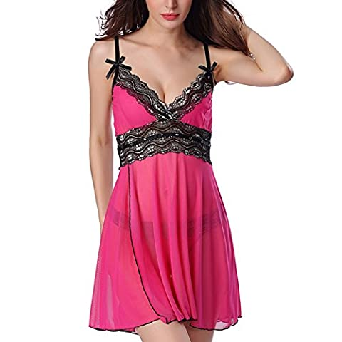 Greatlizard Butterfly Knot Strap Lace Pajamas Nightgown