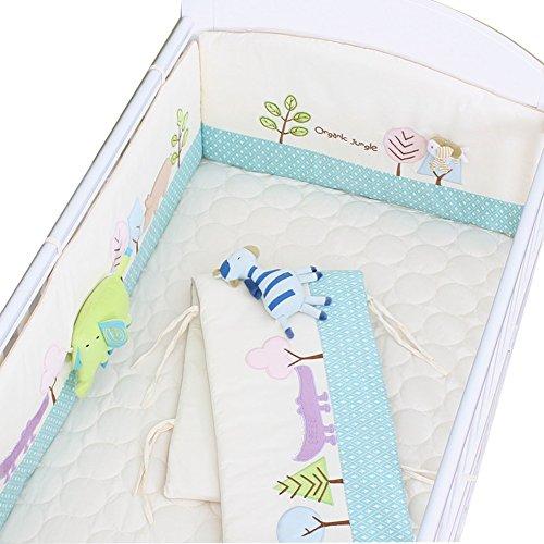 YWXJY Baby Infant Krippe Bumper Pads Bett Cradle Protector Atmungsaktiv, Spannbettlaken, 3D Plüschtiere, Kinder Bettwäsche Zubehör, abnehmbare & waschbar, 4 Jahreszeiten Universal, 110 * 65